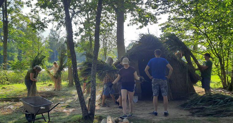 Akmens laikmeta mājokļa atjaunošanas talka  Āraišu ezerpils Arheoloģiskajā parkā